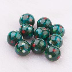 perles en résine peintes par pulvérisation, Avec motif de points, arrondir, darkgreen, 10 mm, trou: 2 mm(GLAA-F049-A06)