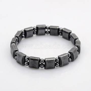 Magnetic Hematite Square and Round Beads Stretch Bracelets for Valentine's Day Gift, 55mm(BJEW-M066-13)