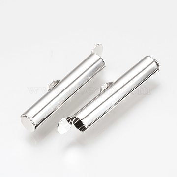 4 PCs Slide On End Clasp Tubes 5.5 x 30 x 4 mm Platinum Slider End Caps