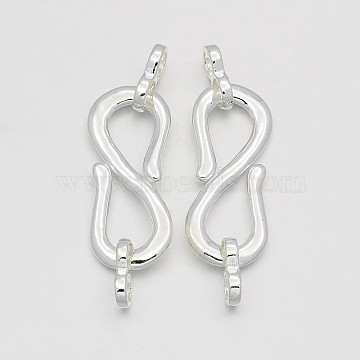 Brass S-Hook Clasps, with Two Infinity Links, Silver Color Plated, 52mm, Hole: 4.5mm(KK-J202-03S)