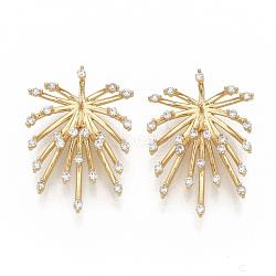 pendentifs en laiton micro pave clair zircone cubique, pour la moitié de perles percées, sans nickel, réel 18 k plaqué or, fleur, 29.5x19.5x6 mm, trou: 1.6 mm, pin: 0.8 mm(ZIRC-T011-25G-NF)