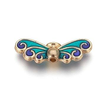 Golden Green Butterfly Alloy+Enamel Beads