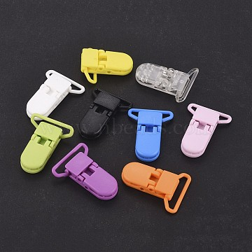 Environmental PC Plastic Baby Pacifier Clips, Mixed Color, 42x30mm, Hole: 25mm(X-AJEW-K010-01)