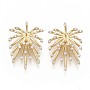 Real 18K Gold Plated Clear Brass+Cubic Zirconia Peg Bails(ZIRC-T011-25G-NF)
