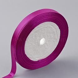 """Ruban de satin à face unique, Ruban de polyester, mediumvioletred, 1/4"""" (6 mm); environ 25yards / rouleau (22.86m / rouleau), 10 rouleaux / groupe, 250yards / groupe (228.6m / groupe)(RC6mmY-0034)"""