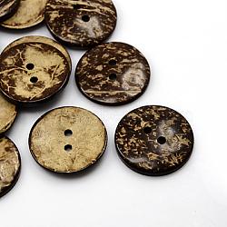 Boutons de noix de coco, 2-trou, plat rond, coconutbrown, 37.5, Trou: 4mm(COCO-I002-102)