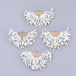 décorations pendentif gland en polycoton (polyester coton), avec mousse et laiton, fan, or, blanc crème, 40~45x64~68x3 mm, trou: 1.2x2 mm(FIND-T041-03)