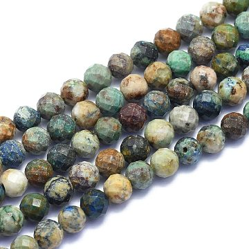 Natural Chrysocolla Beads Strands, Round, Faceted, 8mm, Hole: 1.2mm; about 49pcs/Strand, 15.16 inches(38.5cm)(G-K310-A16-8mm)