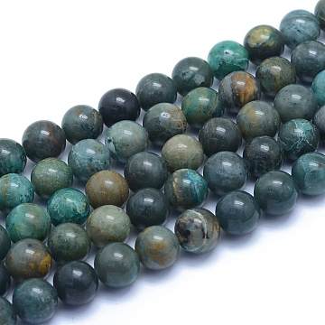 Natural Chrysocolla Beads Strands, Round, 8~8.5mm, Hole: 0.8mm, about 50pcs/strand, 15.55 inches(39.5cm)(X-G-L552H-12)
