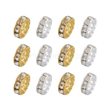 Brass Rhinestone Spacer Beads, Mixed Color, 10x4mm, Hole: 2mm, 10pcs/color, 20pcs/set(RB-TA0001-01)