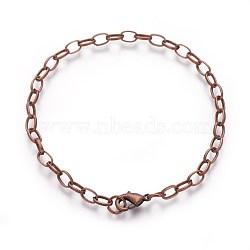 Bracelet de fer faisant, avec fermoir pince de homard, cuivre rouge, 205 mm; fermoir: 12x7x3 mm; lien: 7x4.5x1 mm(X-IFIN-H031-R)