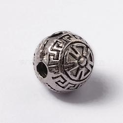 alliage de style tibétain 3 perles trou gourou, perles t-percées, arrondir, argent antique, 9x9.5 mm, trou: 2.5 mm(TIBEB-YC65989-AS)