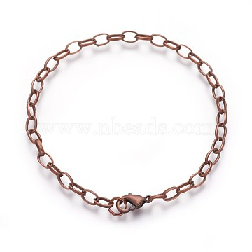 Iron Bracelet Making, with Lobster Claw Clasps, Red Copper, 205mm; Clasp: 12x7x3mm; Link: 7x4.5x1mm(X-IFIN-H031-R)