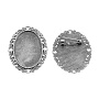 Antique Silver Alloy Brooch Base Settings(TIBE-S189-AS-NR)