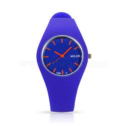 En acier inoxydable de montres-bracelets de silicone de quartz des femmes à la mode, mauve, 255x18 mm; tête de montre: 32x42x9 mm(WACH-N008-11B)
