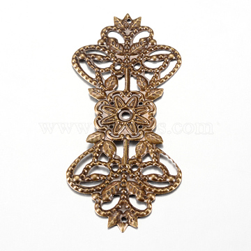 Iron Links, Etched Metal Embellishments, Flower, Antique Bronze, 73~73.5x31.5x1mm, Hole: 1mm(X-IFIN-Q118-19AB)