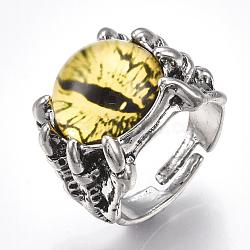 Bagues réglables en alliage de verre, anneaux large bande, oeil de dragon, jaune, taille 10, 20mm(RJEW-T006-02E)