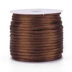 Nylon Cord, Satin Rattail Cord, for Beading Jewelry Making, Chinese Knotting, Camel, 1mm, about 32.8 yards(30m)/roll(NWIR-L006-1mm-19)