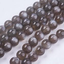 """Brins de perles de sunstone noirs naturels, rond, sunstone, 8mm, trou: 1mm; environ 48 pcs/chapelet, 15.7""""(G-J157-8mm-05)"""