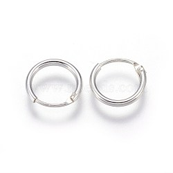 Sterling Silver Hoop Earring Findings, Ring, Silver, 10x1.2mm; Pin: 0.7mm(X-STER-E062-05A-S)