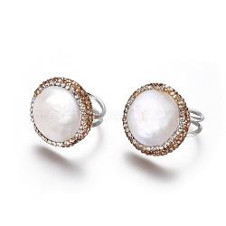 Bagues réglables en strass en pâte polymère, avec les accessoires de perles et en laiton, plat rond, lt.col.topaz, taille 6, 16.5mm(RJEW-K229-C02)