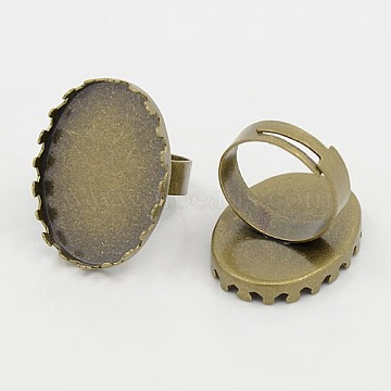 Brass Ring Shanks, Pad Ring Bases, For Vintage Rings Making, Adjustable, Oval, Antique Bronze Color, Size: Ring: about 17mm inner diameter; Oval Tray: about 18mm wide, 25mm long(X-KK-Q015-AB)