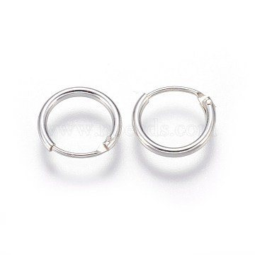 Sterling Silver Hoop Earring Findings, Ring, Silver, 10x1.2mm, Pin: 0.7mm(X-STER-E062-05A-S)
