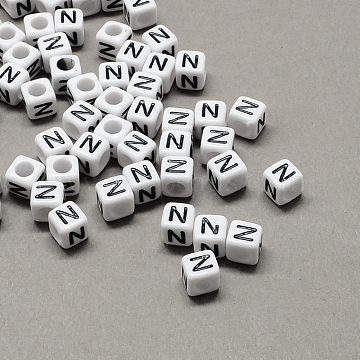 Large Hole Acrylic Letter European Beads, White & Black, Cube with Letter.N, 10x10x10mm, Hole: 4mm(X-SACR-Q103-10mm-01N)