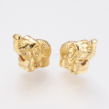 Long-Lasting Plated Alloy Beads, Elephant, Golden, 12x5.5x11mm, Hole: 2mm(X-PALLOY-G204-08G)