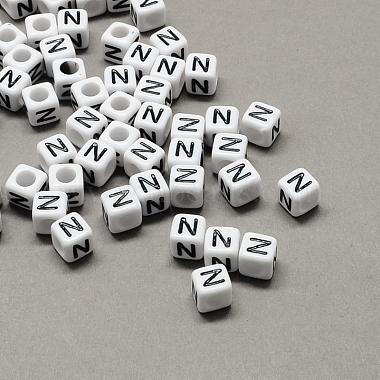 10mm Black Cube Acrylic Beads