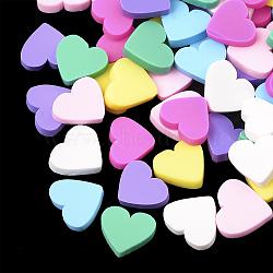 main en pate polymère cabochons, cœur, couleur mélangée, 7~8x8~9x2 mm(X-CLAY-T013-04)