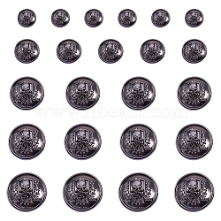 Boutons en alliage de zinc, 1-trou, plat rond avec le crâne, gunmetal, 7.4x7.3x2.5cm; 30pcs / boîte(BUTT-PH0004-10B)