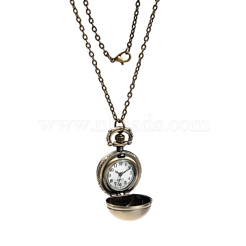 Retro Alloy Round Ball Pendant Necklace Quartz Pocket Watches, with Iron Cable Chains and Lobster Clasps, Antique Bronze, 31.5inches; Watch: 41x27x26mm(WACH-M034-04AB)