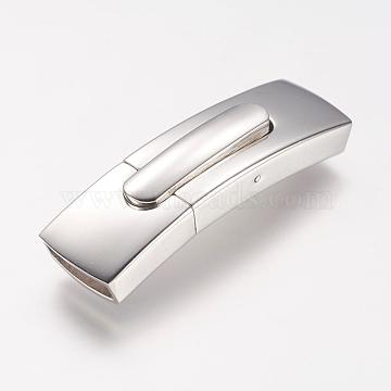 304 Stainless Steel Bayonet Clasps, Rectangle, Stainless Steel Color, 43.5x13.2x7.6mm, Hole: 10.7x4.8mm(STAS-P158-01E-P)