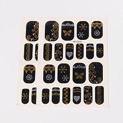 Autocollants en papier de tatouages temporaires de faux styles amovibles, métalliques ongles autocollants, or, 18~26x8~16 mm; environ 2 PCs / sac(AJEW-O025-06)