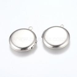 304 подвески из нержавеющей стали Locket, фото подвески рамка для ожерелья, плоско-круглые, цвет нержавеющей стали, 31x27.5x5.5 мм, отверстия: 2 mm; Внутренний размер: 20 mm(STAS-E144-016P)