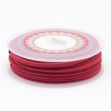 Faux Suede Cord, Faux Suede Lace, Red, 3x1.5mm, about 5.46 yards(5m)/roll(LW-D009-07)