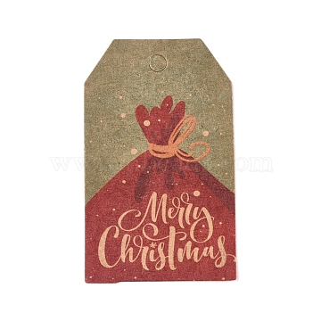 Paper Gift Tags, Hange Tags, For Arts and Crafts, For Christmas, with Word Merry Christmas, Colorful, 50x30x0.3mm, Hole: 5mm(CDIS-L003-E10-B)