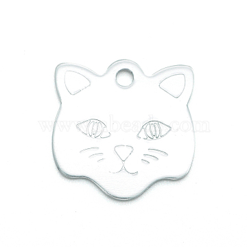 Colored Aluminum Pendants, Laser Cut, Double Sided Dog Pet Name Phone Number ID Tag Charm, Cat, Silver, 23x22.8x1mm, Hole: 2.5mm(ALUM-S018-JA625-1)