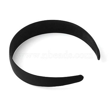 Plastic Hair Bands, with Cloth Covered, Black, 125mm(OHAR-R275-01)