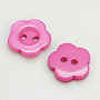 Resin Buttons, Dyed, Flower, HotPink, 11x2.4mm, Hole: 1.6~1.8mm; about 1000pcs/bag