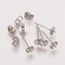 Brass Post Earring Findings, Platinum, 5x14mm(X-KK-G010)