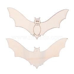 Bat Shape Halloween Blank Wooden Cutouts Ornaments, for Halloween Hanging Decoration, Kids Crafts DIY Party Supplies, BurlyWood, 56x113x2mm; Rope: 320x1mm(WOOD-L010-05)