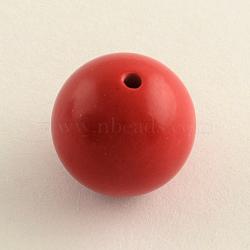 круглые бусины киноварь, огнеупорный кирпич, 8 mm, отверстия: 1.5 mm(X-CARL-Q002-8mm)