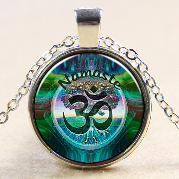 Yoga Theme Flat Round Glass Pendant Necklaces, with Alloy Chains, Silver Color Plated, 18inches(NJEW-N0051-050W-02)