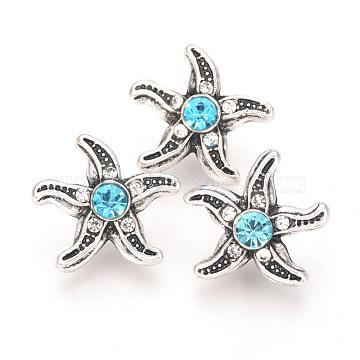 Alloy Rhinestone Snap Buttons, Jewelry Buttons, Starfish/Sea Stars, Antique Silver, Aquamarine, 17.5x17x8mm; Knob: 4.5mm(SNAP-T001-172A)