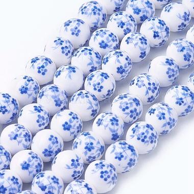 Chapelets de perles en céramique imprimées de fleurs manuelles(PORC-J006-C03-A)-1