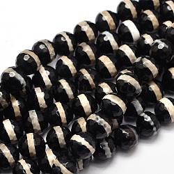 Perles DZI en agate naturelle de style tibétain brins facettes rondes, noir, 10 mm, trou: 1 mm; environ 37 perle / brin, 14.5(X-TDZI-O005-10F-10mm)