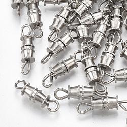 Fermoirs à vis en fer, sans nickel, platine, 14x4mm, Trou: 1.8mm(X-IFIN-T007-27P-NF)