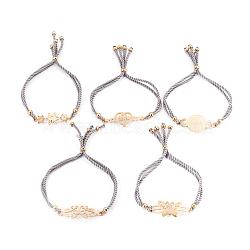 """Bracelets réglables de bolo de corde en nylon, Bracelets coulissants, chaînes de boîte, avec 304 accessoires de strass en acier inoxydable, formes mixtes, or, grises , 8-7/8""""~9-1/2"""" (22.5~24cm); 4~5mm(BJEW-F374-E)"""